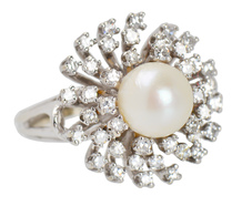 Diamond Fireworks - Pearl Cluster Ring