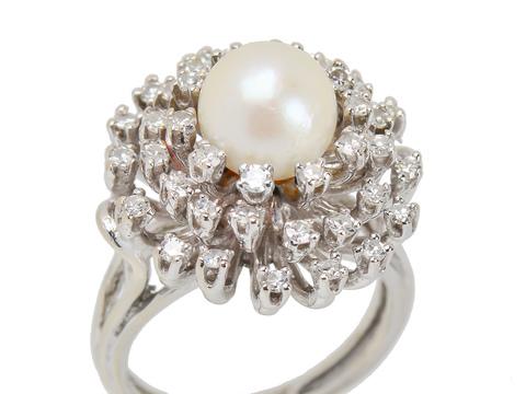 Diamond Fireworks - Pearl Cluster Ring