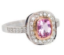 Estate Halo Pink Spinel Diamond Ring