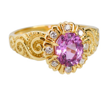 Pink Sapphire Halo Diamond Ring