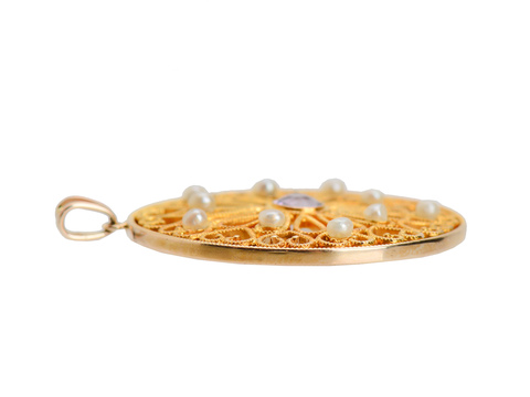 Window of Gold - Edwardian Pearl Pendant