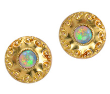 Evocative Opal Yellow Gold Stud Earrings
