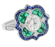 Art Deco Inspired Emerald Sapphire Diamond Ring