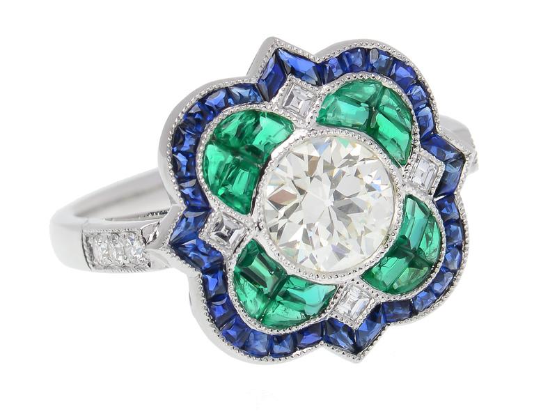 38e22647ea587 Art Deco Inspired Emerald Sapphire Diamond Ring