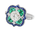 Art Deco Inspired Emerald Sapphire Diamond Ring