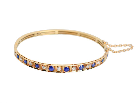 Antique Sapphire Diamond Bangle Bracelet