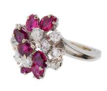 Ruby Swirl - French 1970s Diamond Cocktail Ring