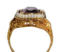 Vintage Lilac Amethyst Pearl Ring