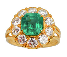 Vintage Emerald Diamond Halo Ring