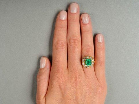 Vintage Emerald Diamond Halo Ring