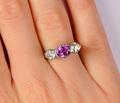 Three Stone Pink Sapphire Diamond Ring