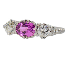 Three Stone Pink Sapphire Diamond Ring