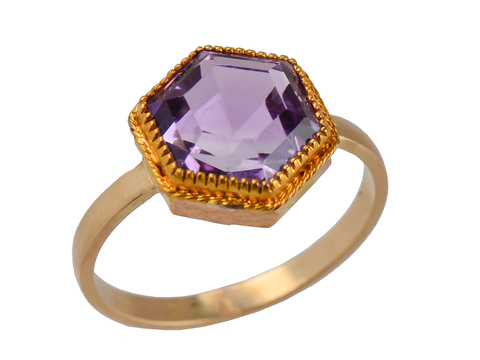 Hexagonal Amethyst Vintage Ring