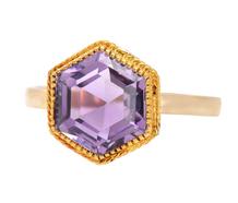 Hexagonal Amethyst Vintage Ring