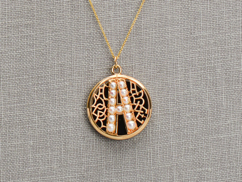 Give Me An A - Vintage Pearl Initial Pendant