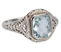 Art Deco Filigree Aquamarine Ring