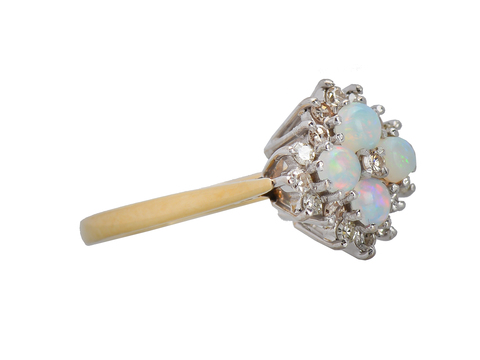 Vintage Frills - Opal Diamond Cluster Ring