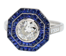 Come Alive - Double Halo Diamond Sapphire Ring