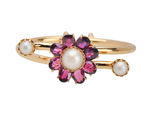 Lucien Piccard Vintage Garnet Pearl Bangle