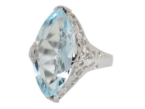 Filigree Fancy - Art Deco Aquamarine Ring