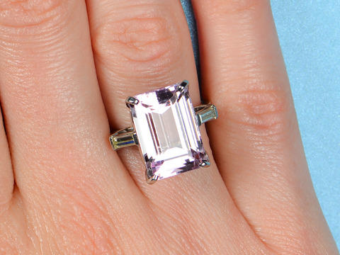 Vintage Kunzite Diamond Ring