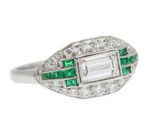 Sophisticated Medley - Emerald Diamond Ring