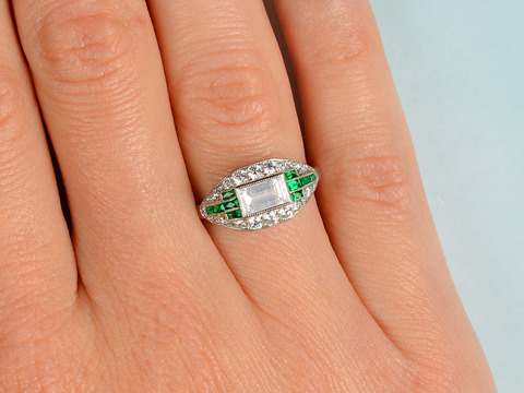 Sophisticated Medley - Emerald Diamond Ring