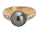 Vintage Tahitian Black Pearl Diamond Ring