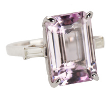 Vintage Kunzite Diamond Ring