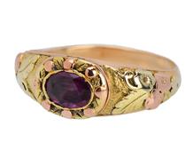 Georgian Secret Locket Garnet Ring