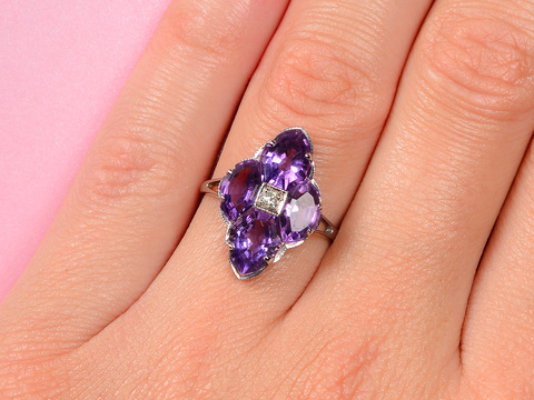 Art Deco Allure - Amethyst Fancy Cut Ring