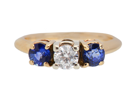 Three Stone Sapphire Diamond Wedding Ring