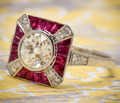 Ruby Diamond Engagement Ring in Platinum