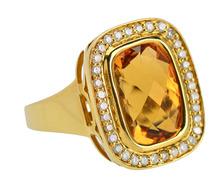 Golden Glow Vintage Citrine Diamond Halo Ring
