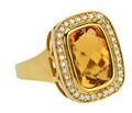 Golden Glow Vintage Citrine Diamond Halo Ring