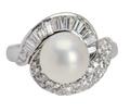 Vintage Baguette Diamond South Sea Pearl Ring