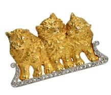 Antique French Three Cat Diamond Pendant