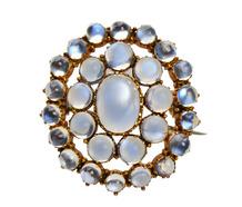 Blue Aura Antique Moonstone Pendant Brooch