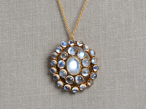 Blue Aura Antique Moonstone Pendant Brooch