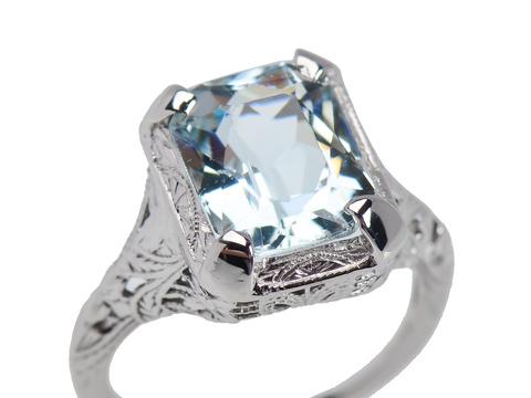 Arctic Breeze - Vintage Filigree Aquamarine Ring