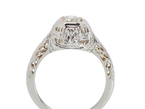 Estate Filigree Brilliant Engagement Ring