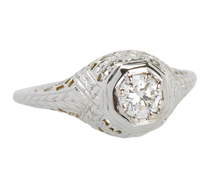 Estate Filigree Brilliant Engagement Ring