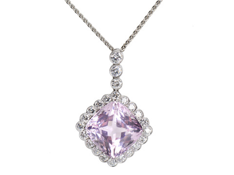 Interlude in Pink - Kunzite Diamond Pendant