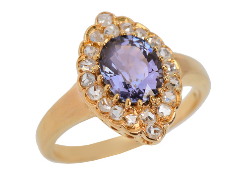 Color Change Spinel Diamond Ring