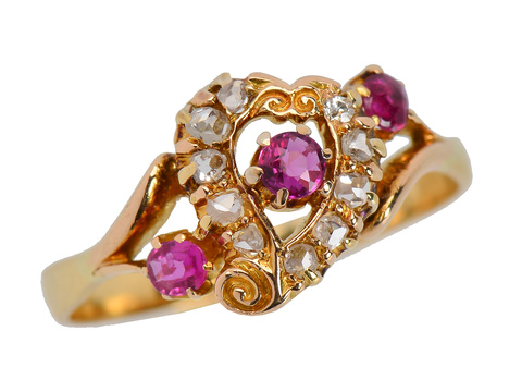 Antique Ruby Witch's Heart Diamond Ring