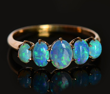 Vintage Five Stone Fiery Opal Ring