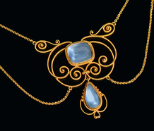 Art Nouveau Blue Moonstone Necklace