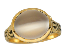 Vintage Secret Compartment White Moonstone Ring