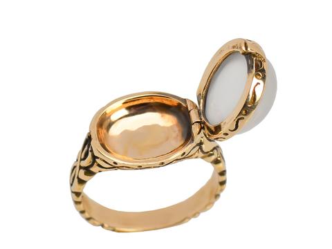 Vintage Secret Compartment White Moonstone Ring