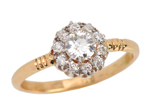 Vintage English Diamond Halo Engagement Ring